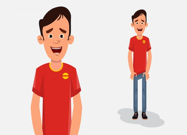 Cartoon boy in standing pose vector illustration for your design, motion or animation.