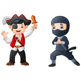 Cartoon boy wearing a costume pirate with ninja