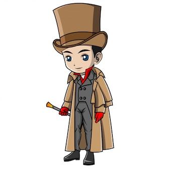 Cartoon boy wearing england costume