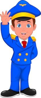 手を振ってパイロットの衣装を着て漫画の少年