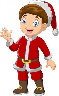 サンタの衣装を着て漫画少年