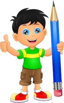 Cartoon boy with pencil