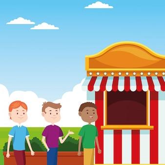 Cartoon boys at the fair ticket booth over landscape