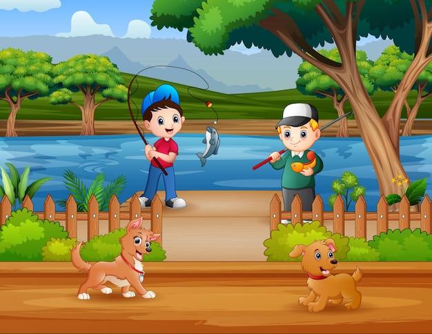 Мультяшные мальчики, ловящие рыбу в реке, иллюстрация