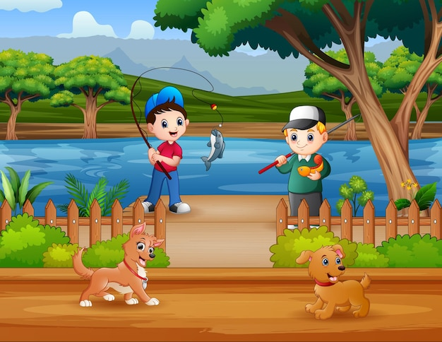 Cartoon boys fishing in the river illustration