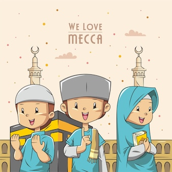 Cartoon boys and girls in mecca