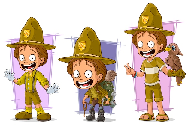 Cartoon boyscout ranger character set