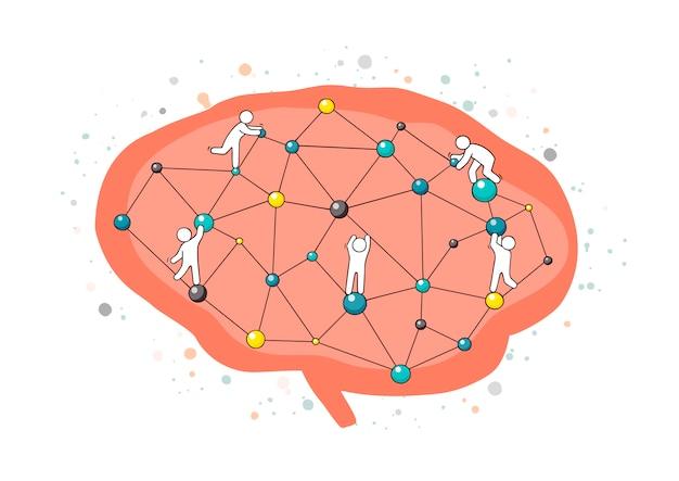 Мультяшный мозг работает с маленькими людьми