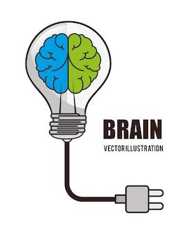 Cartoon brain idea creative design isolated