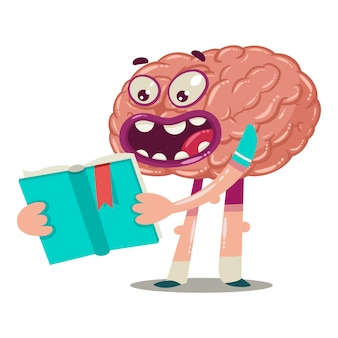 Cartoon brain is reading a book. vector character of an internal organ isolated