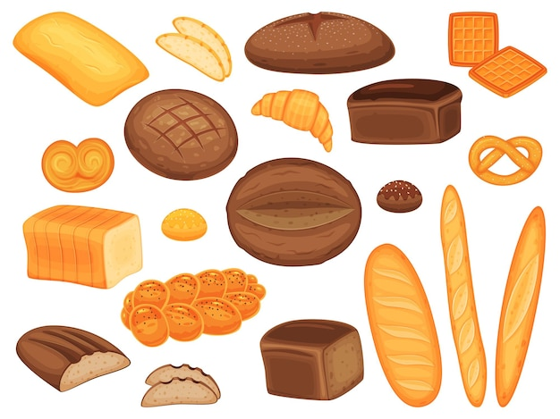 Cartoon bread, baguette, buns, pastry and bakery products. fresh loaf of whole grain bread, croissant, pretzel, homemade pastries vector set. tasty assortment for nutrient nutrition meal