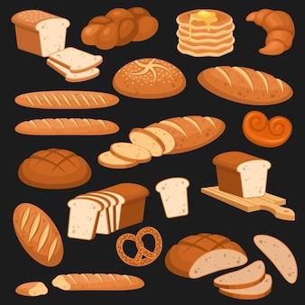 만화 빵. 베이커리 호밀 제품, 밀 및 전체 곡물 및 슬라이스. 프랑스 바게트, 크루아상, 베이글, 토스트 시리얼 다양한 빵 페이스트리 디자인 벡터 세트는 메뉴를 위해 검정색 배경에 격리되어 있습니다.