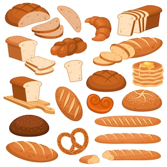Мультяшный хлеб. хлебобулочные изделия из ржи, пшеничный и цельнозерновой нарезанный хлеб. французский багет, круассан и бублик, тосты меню караваи разнообразные булочки выпечка