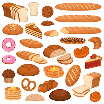 Cartoon bread and cakes. bakery wheat products, rye breads.