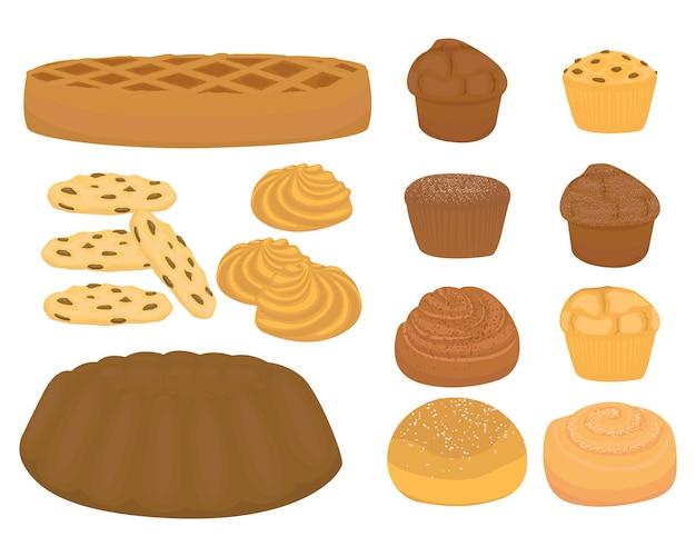 漫画のパンまたは甘いと焼くロールまたはペストリーのスライス、分離漫画セット。パンのセット