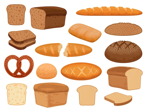 만화 빵 제품. 토스트 슬라이스, 구운 프렌치 바게트, 밀, 통곡물 덩어리, 프레첼, 치아바타. 신선한 빵집 과자 벡터 세트입니다. 그림 빵과 빵집, 아침 식사로 바게트