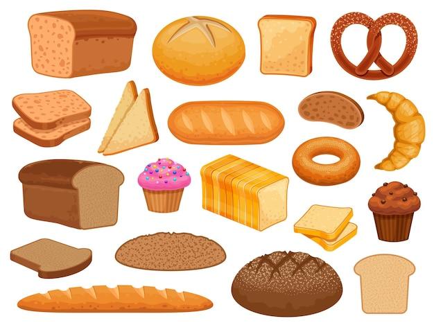漫画のパン。甘いペストリーパン、カップケーキ、クロワッサン、ドーナツ。穀物パン、トーストスライス、ベーグル、フレンチバゲット、ベーカリー製品ベクトルセット