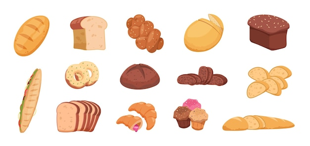 Cartoon bread. wheat rye and buckwheat sliced and whole bread baguette croissant bagel