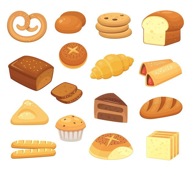 Cartoon breads and rolls. french roll, breakfast toast and sweet cake slice. bakery products set