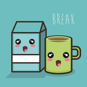 Cartoon break milk box and mug coffee