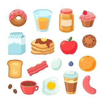 Мультфильм завтрак еда. бублик с беконом, варенье из яиц, сэндвич, полезные фрукты и сок. набор для завтрака