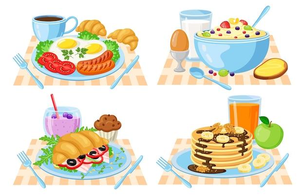 Мультфильм завтрак, изолированные на белом фоне