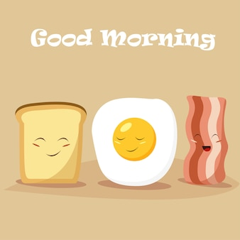 Cartoon breakfast vector illustration