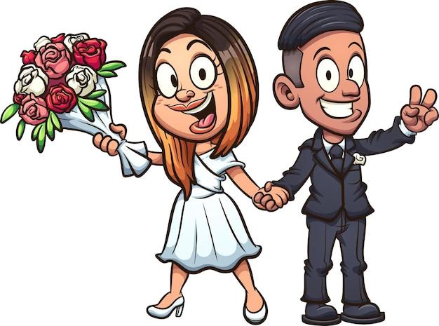 Мультяшные невеста и жених, держа букет цветов