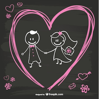 Cartoon bride and groom blackboard design