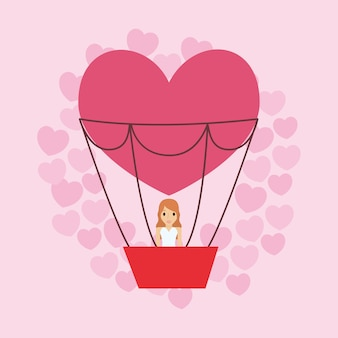 Cartoon bride in hot air balloon in heart shape