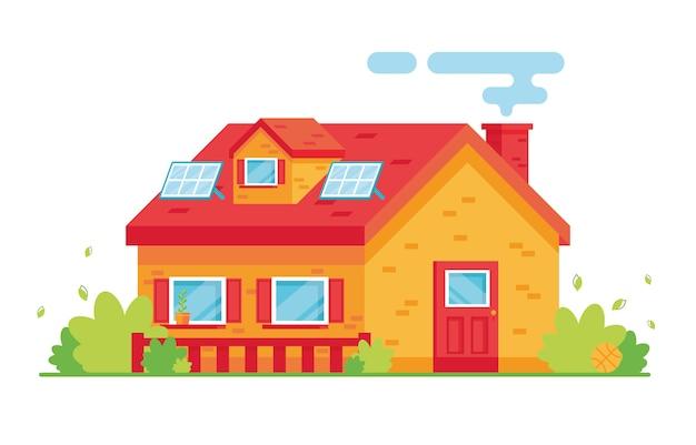 밝은 아파트 건물 만화. 2 층집. 외부. 집 지붕에 태양 전지 패널. 자연을 돌보는 에코. 빨간색과 노란색