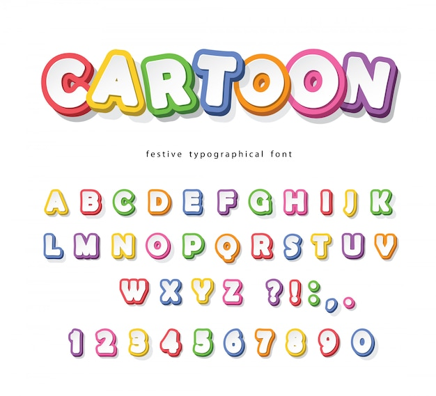 Cartoon bright font for kids. paper cut out colorful alphabet.