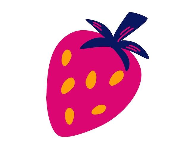 漫画の明るい天然イチゴ。新鮮な農場のオーガニックベリー。健康食品。雑誌、本、ポスター、メニューカバー、ウェブページに最適です。白い背景で隔離のフラットスタイルのベクトル図