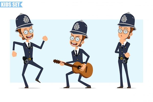 Cartoon british policeman boy character set