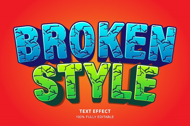 Cartoon broken style text effect, editable text