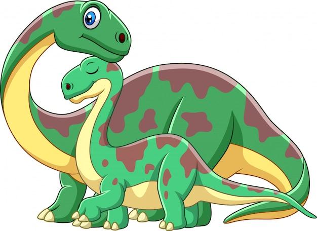Cartoon brontosaurus with her baby