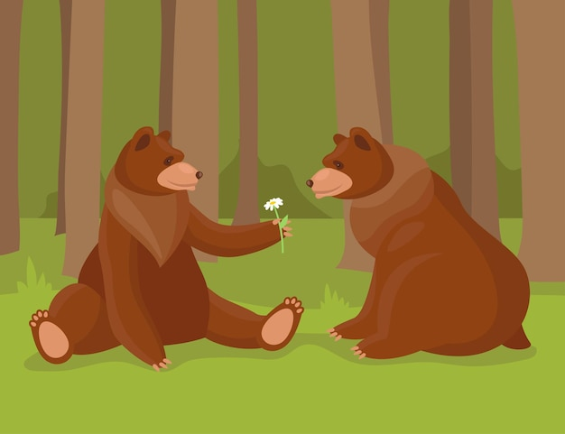 Cartoon brown bear giving flower to his love. illustration of bears, wild nature forest predator animals and sitting bear in love.
