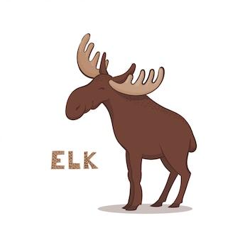 A cartoon brown elk
