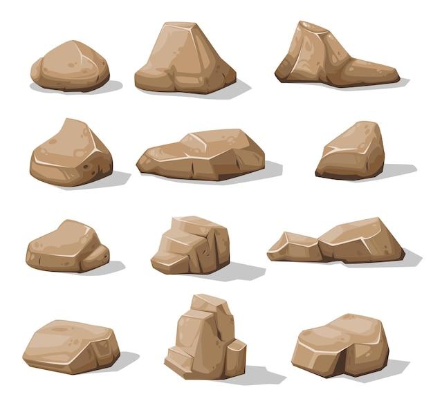 漫画の茶色の岩石と岩、ベクトルの瓦礫の砂利と石畳のアイコン。岩石または破片ブロック、山積みの花崗岩の小石の砂利、ゲーム資産