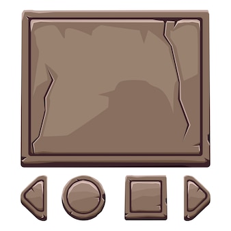 Cartoon brown stone assets and buttons for ui game