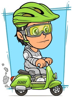 Cartoon brunette girl character riding on scooter
