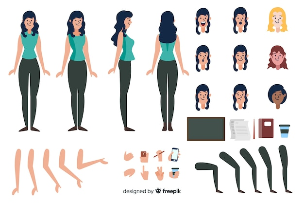 Cartoon brunette woman character template