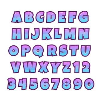 漫画バブルフォント。コミックと漫画のアルファベット。ゲームフォント