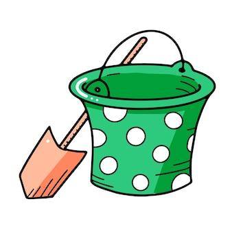 Игрушечный объект мультяшного ведра и лопаты для маленьких детей, чтобы играть в стиле каракули