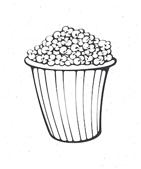 Cartoon bucket full of popcorn outline striped paper cup with junk snack vector illustration
