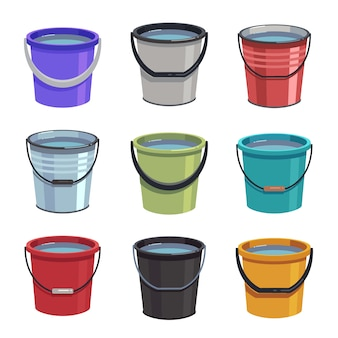 Cartoon buckets. water pails, metal and plastic bucket. isolated vector set
