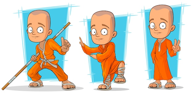 Cartoon buddhist monk character set