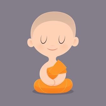 Cartoon buddhist monk of southeast asia. meditation.