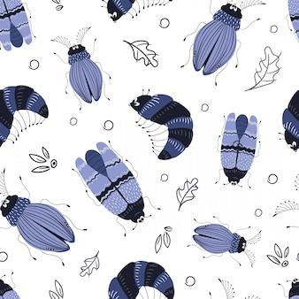 Cartoon bug or beetle pattern