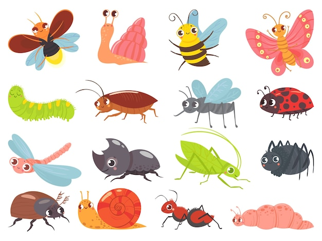 Cartoon bugs. baby insect, funny happy bug and cute ladybug